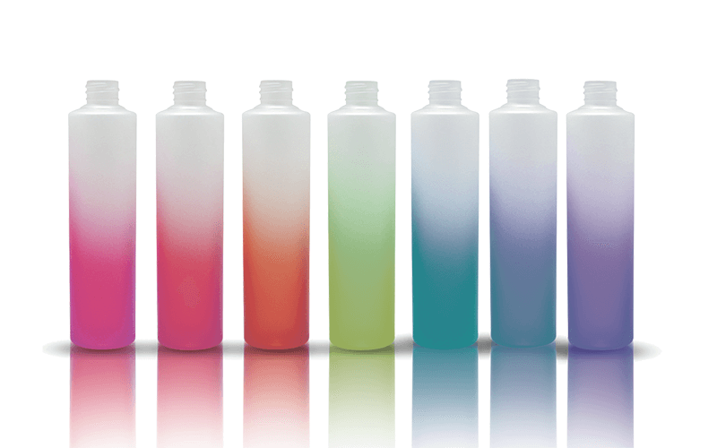 Colorful spray coating on PET plastic opaque white bottles